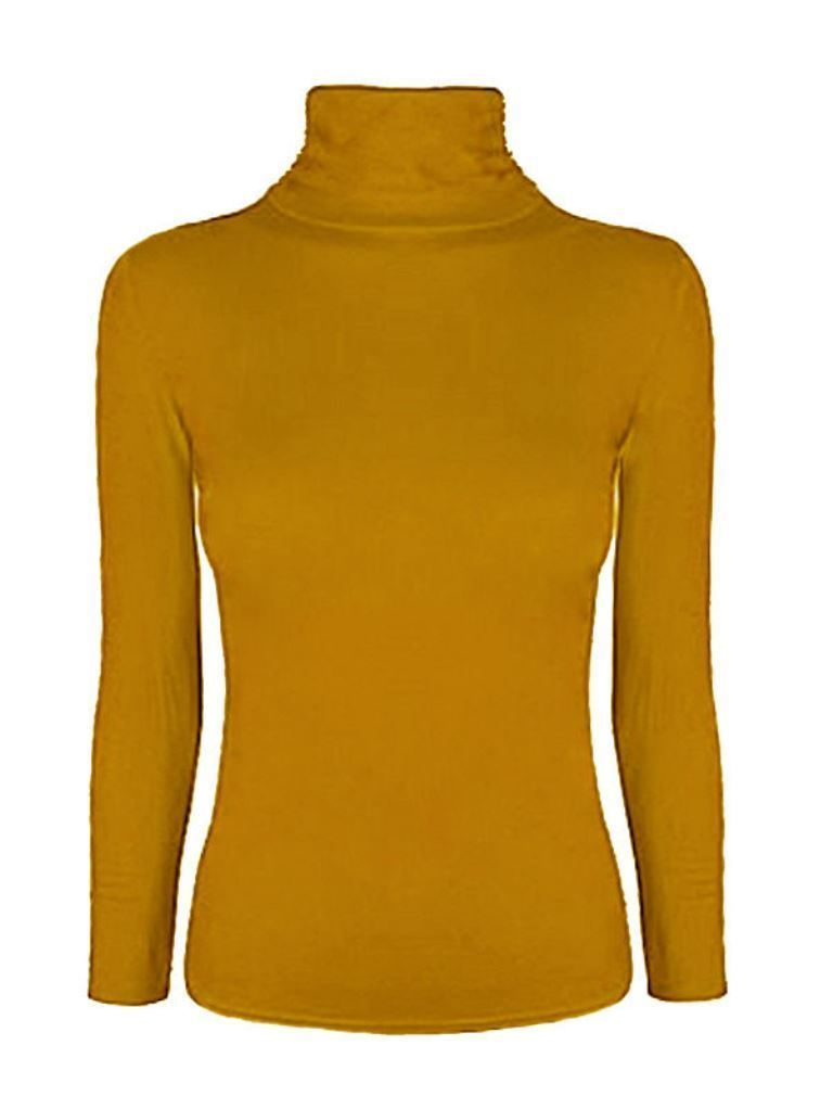 Ladies-Plain-Full-Sleeve-Polo-Roll-Neck-Jumper-Top-Womens-Turtle-Neck-Jumper thumbnail 14