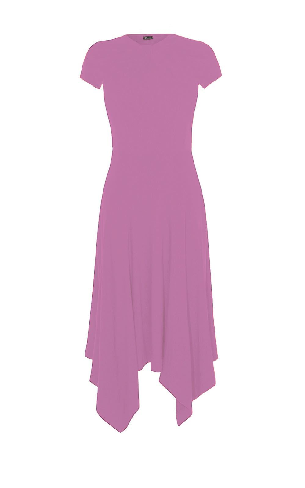 Womens-Crew-Neck-Summer-Party-Flared-Ladies-Hankey-Hem-Long-Swing-Dress-8-26