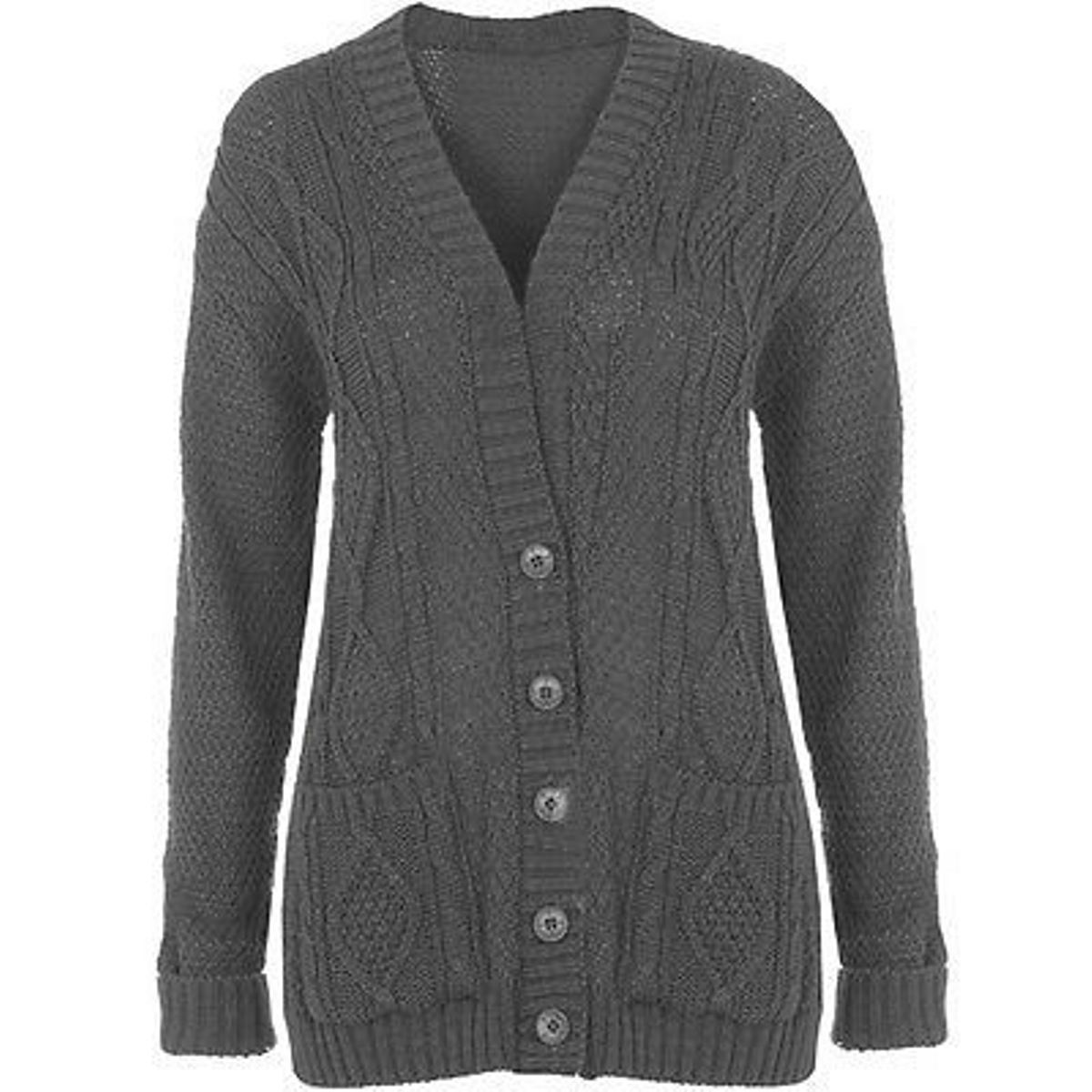 New Womens Ladies Plus Size Chunky Cable Knitted Button Grandad