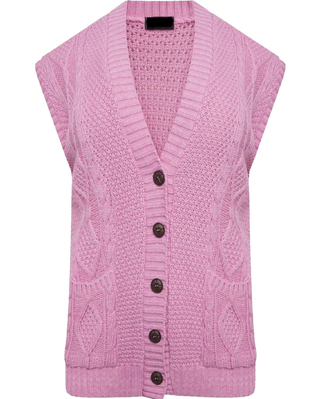 23649f7eb2b880 Women Sleeveless Button Cable Knitted Grandad Cardigan Ladies Winter ...