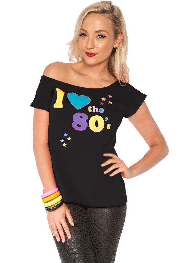 Ladies I Love The 80s T Shirt Retro Fancy Dress Graphic