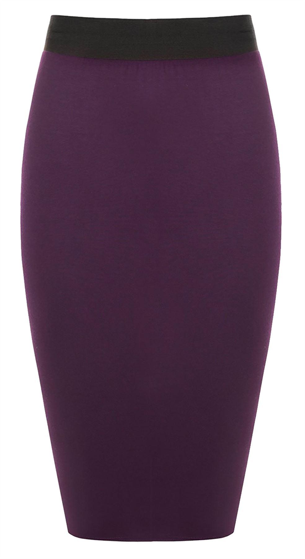 Plain-Bodycon-Pencil-Stretch-Midi-Skirt-Womens-High-Elasticated-Waisted-Skirt