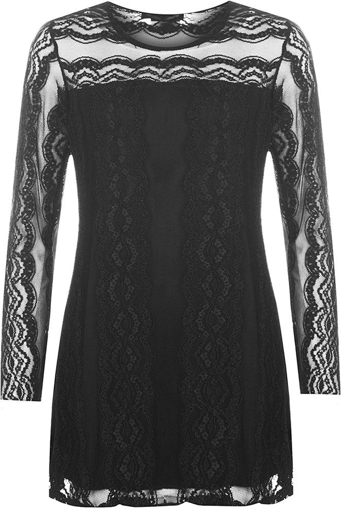 Womens-Stylish-Lace-Long-Sleeve-Tunic-Ladies-Stretch-Round-Neck-Lined-Sheer-Top