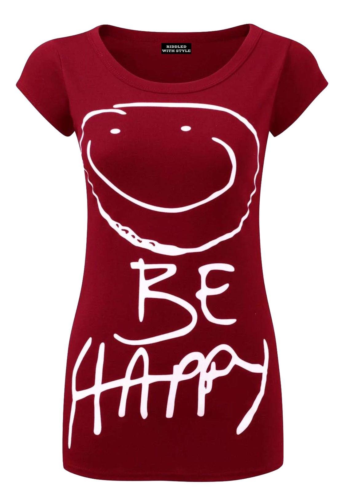 Womens Be Happy Print T Shirt Ladies Cap Sleeve Summer