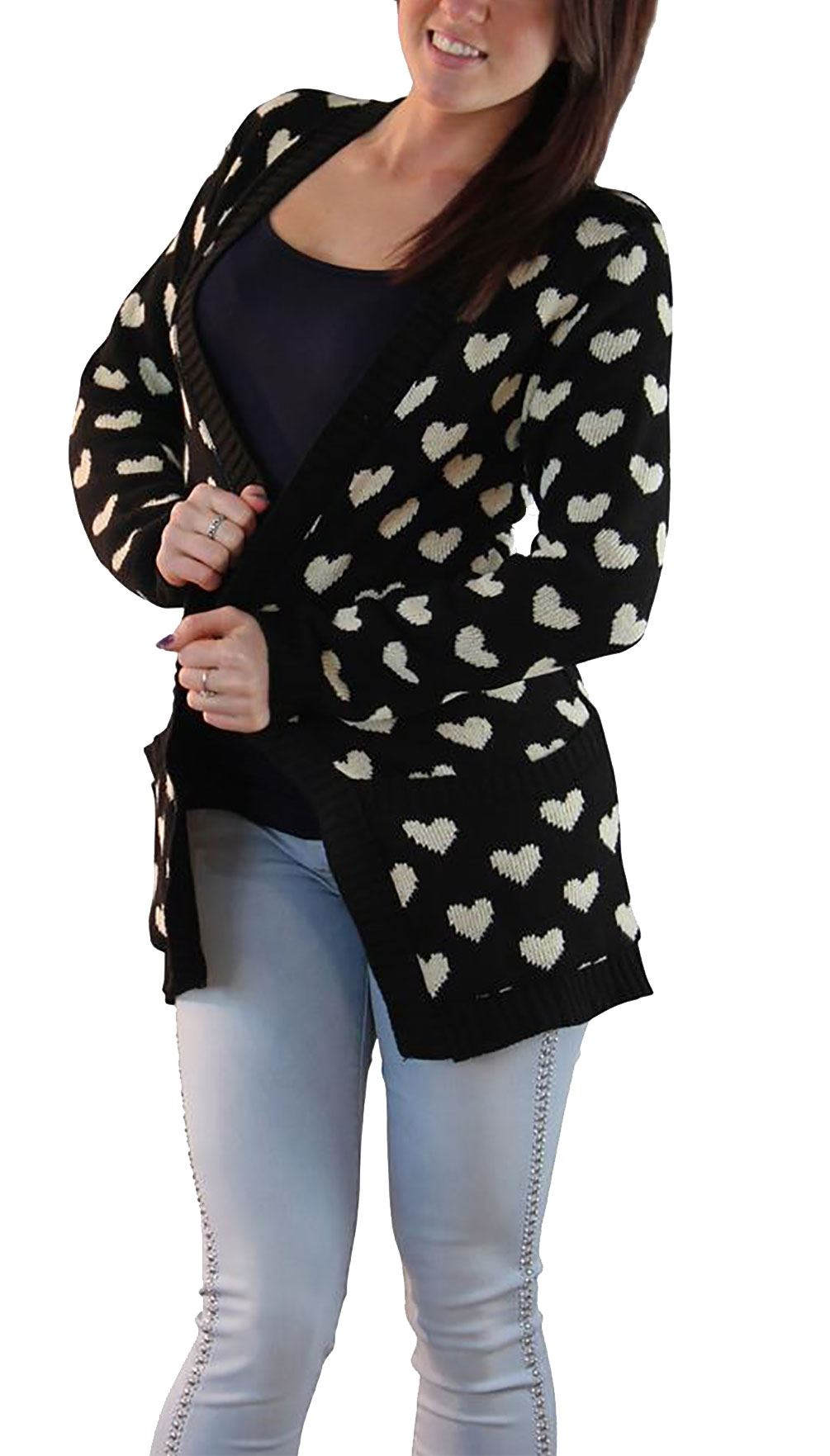 Womens-Knitted-Long-Sleeve-Multi-Heart-Cardigan-Ladies-Open-Front-Winter-Sweater