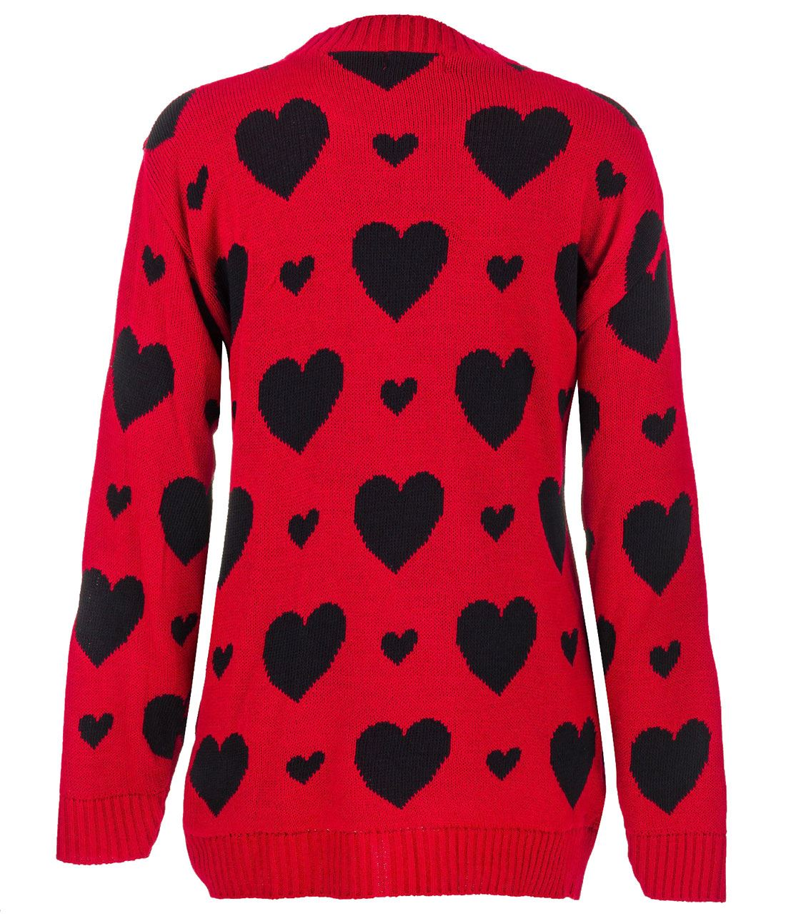 Ladies Long Sleeves Hearts All Over Print Knit Jumper Womens Casual Cardigan Lot