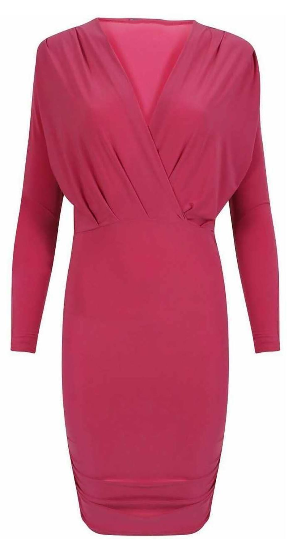 Womens Wrap Over Side Gathered Ruched Slinky Stretch Bodycon Ladies ...