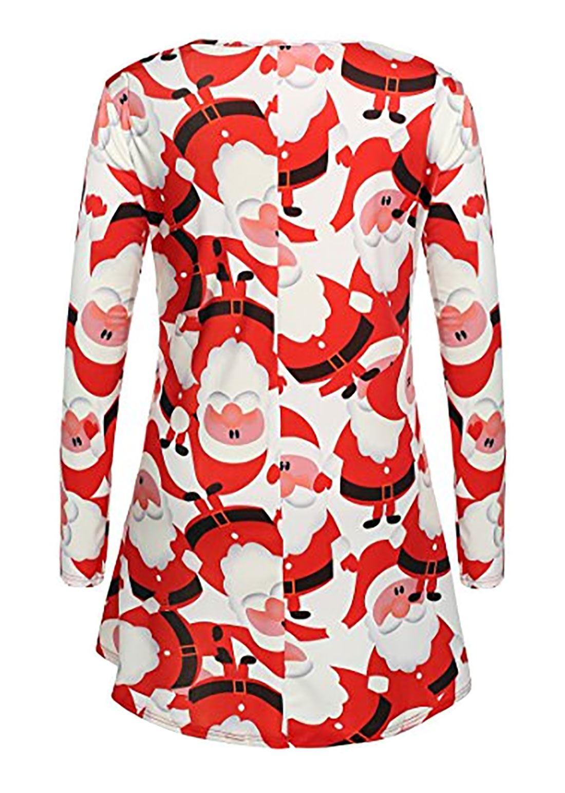 Femme Noël Wear Robe Swing Femmes col rond de Noël Party Wear Midi Haut