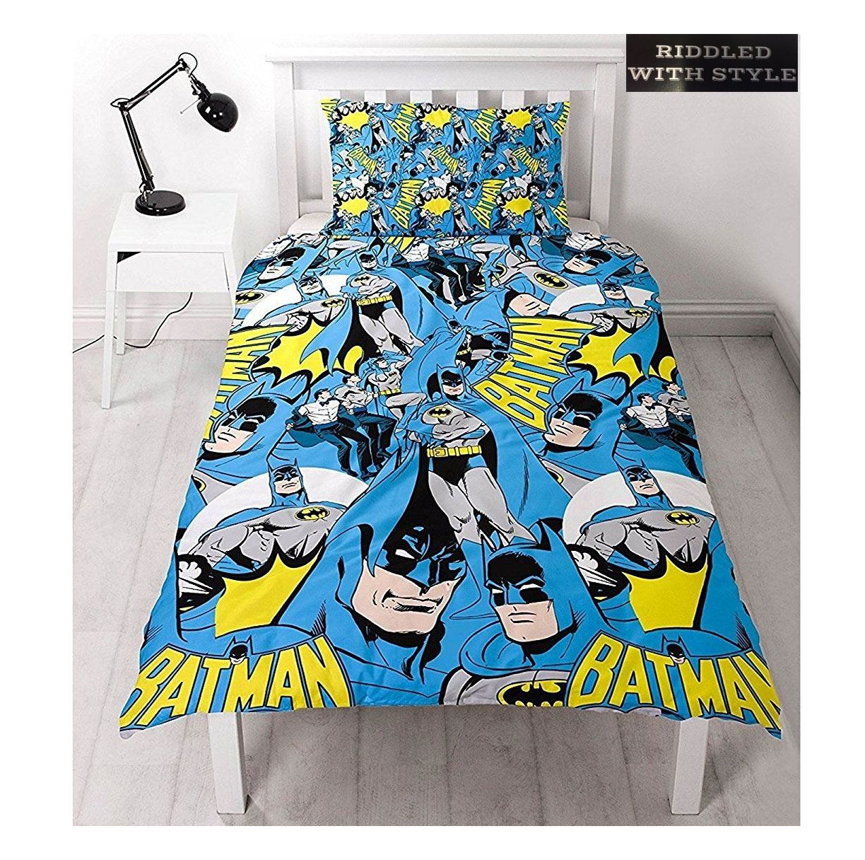 Children-Batman-Comic-Hero-Printed-Single-Reversible-Duvet-