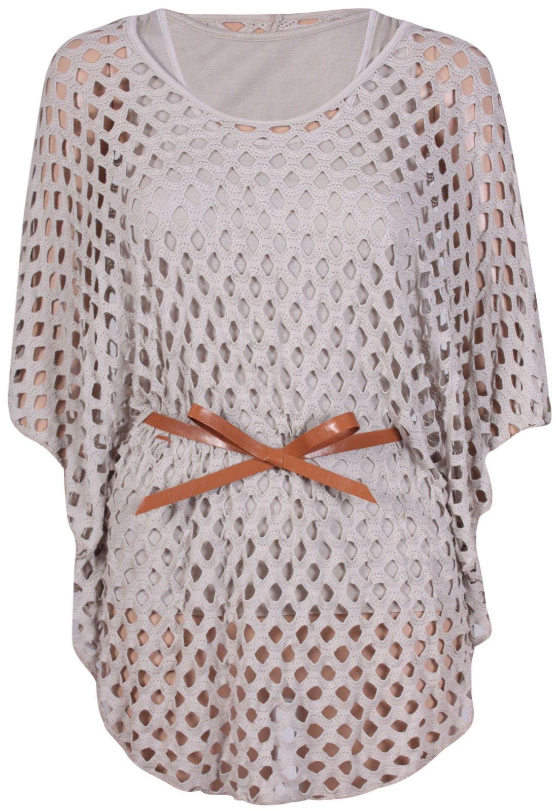 Nouveau-Femme-Taille-Plus-chauve-souris-Manches-Crochet-Ceinture-Cravate-Maille-Debardeur-12-26 miniature 5