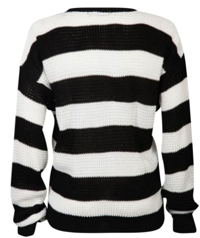 Womens-Monochrome-Black-White-Stripe-Boxy-Jumper-Ladies-Long-Sleeve-Jumper-Top thumbnail 3