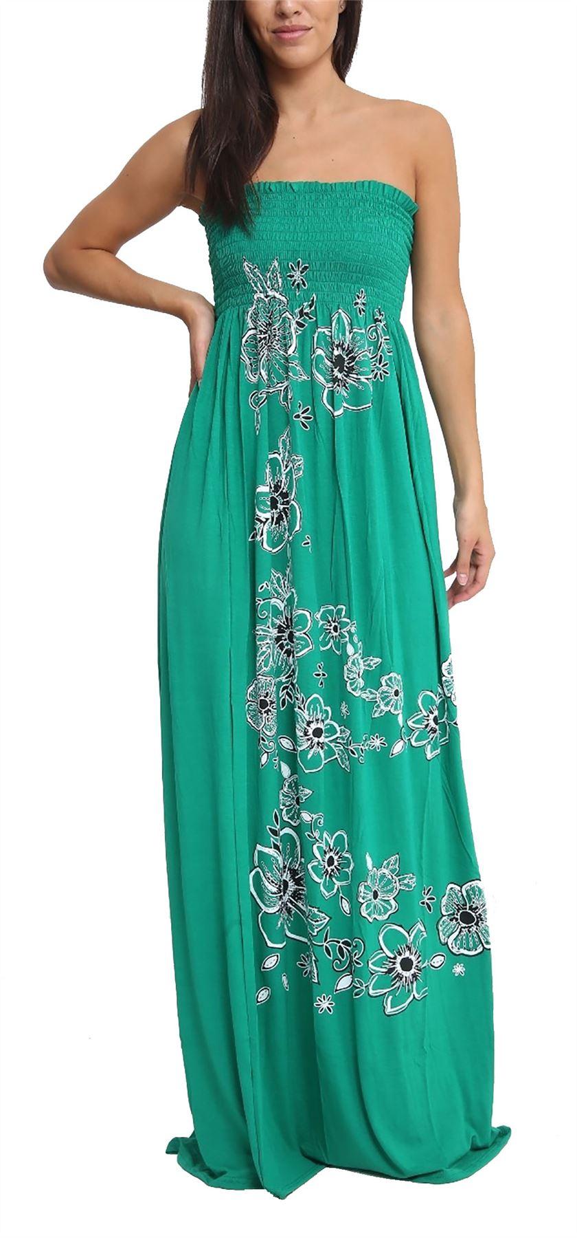 Womens Chunky Flower Printed Sheering Maxi Dress Ladies Sleeveless ...