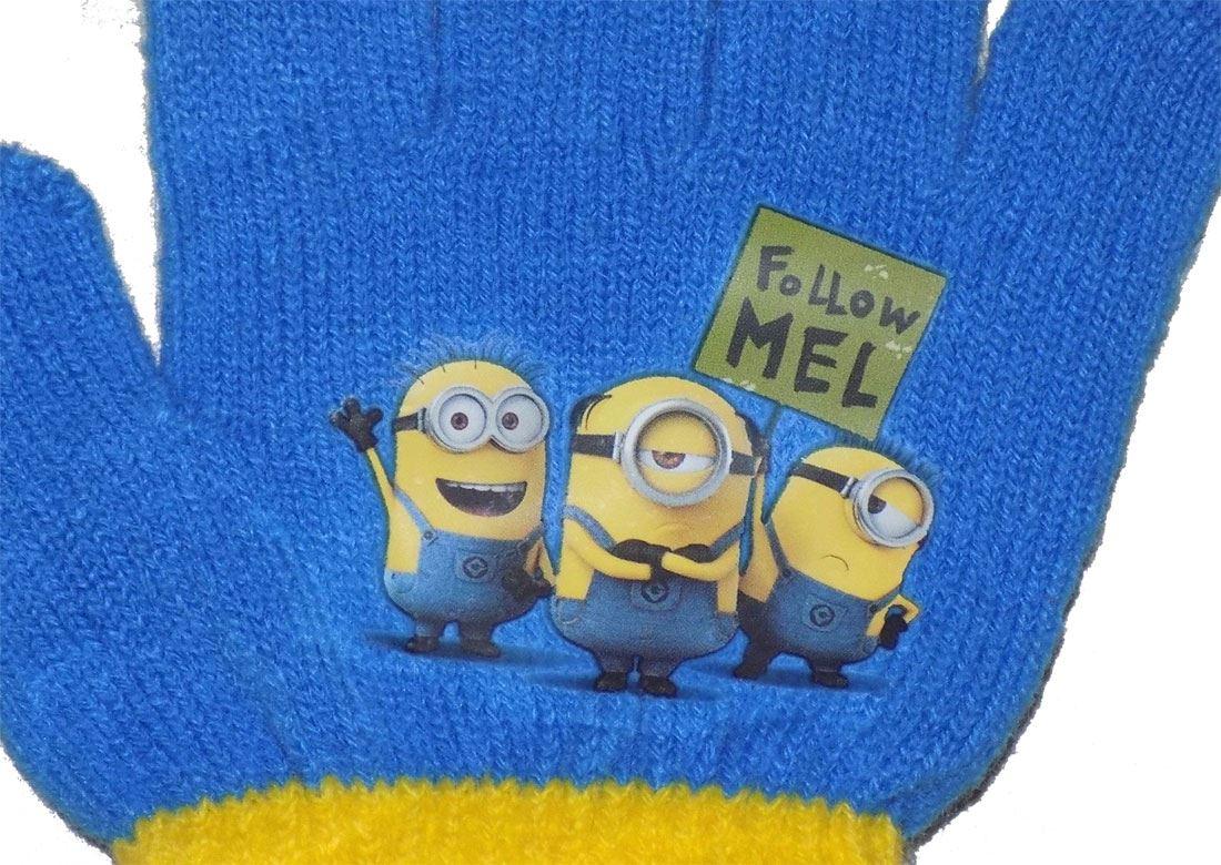 Childrens Minions Despicable Me Winter Hat Gloves Kids Light Blue ... efcc98dff50e
