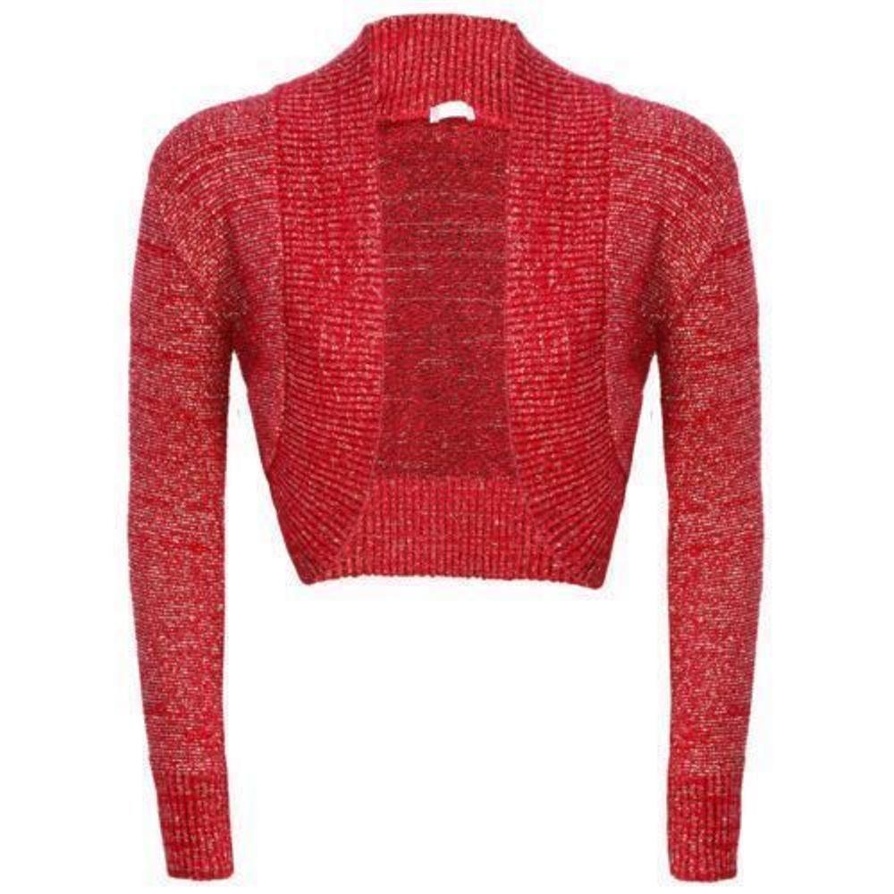 Womens Plus Size Ladies Shrug Long Sleeve Lurex Crochet Bolero