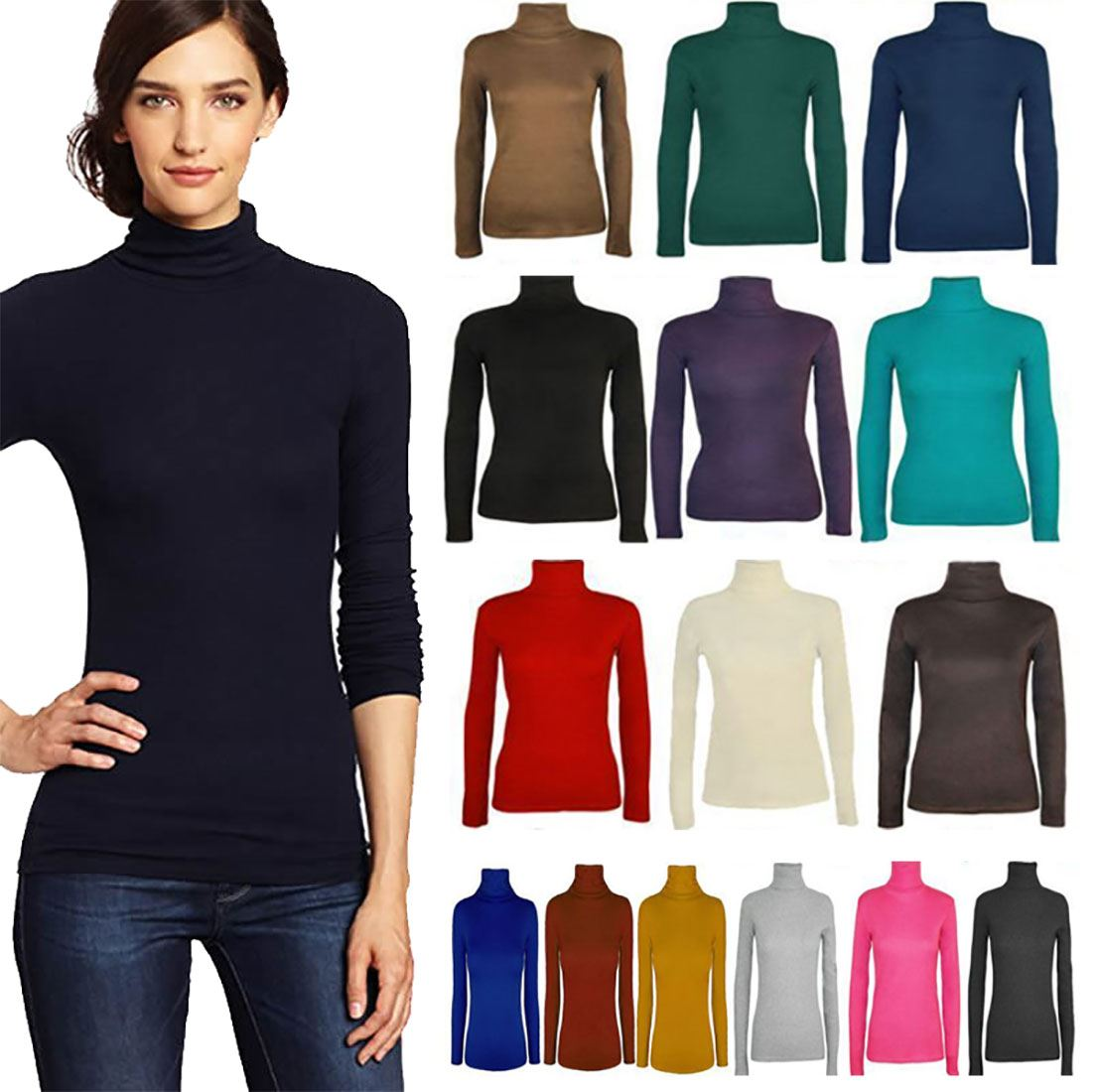 Ladies Turtle Polo Neck Long Sleeve Jumper Top Womens Plain Fit Stretch Top