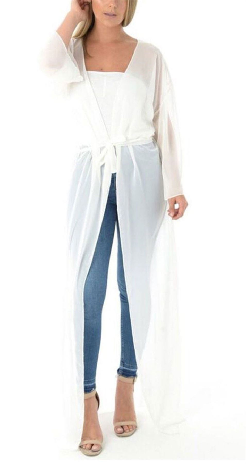 2108d0d30 Ladies Sheer Mesh Belted Chiffon Kimono Maxi Womens Long Sleeve ...