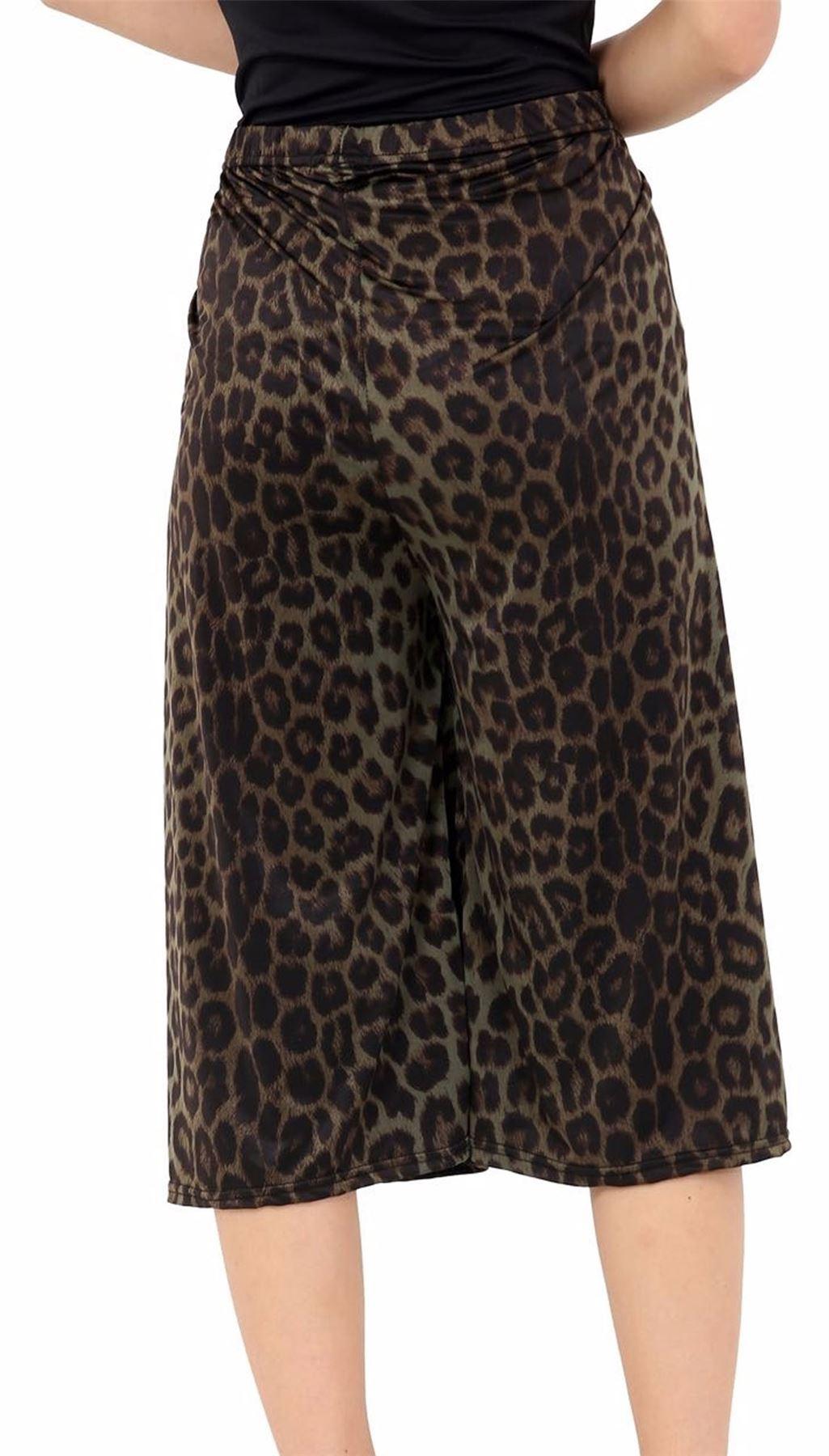 Femmes-Pantalons-Longueur-3-4-Imprime-Floral-Court-Femme-Palazzo-Jambe-Large-Culottes miniature 3