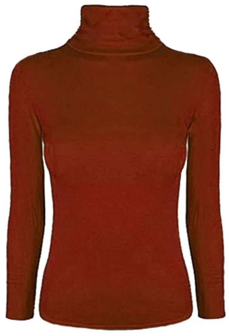 Ladies-Plain-Full-Sleeve-Polo-Roll-Neck-Jumper-Top-Womens-Turtle-Neck-Jumper thumbnail 23