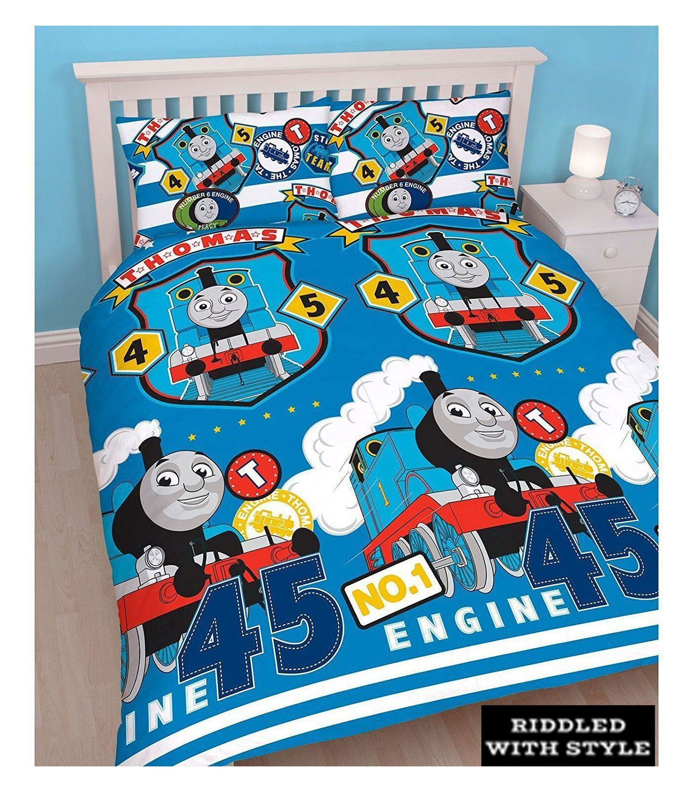 Enfants-THOMAS-THE-TANK-ENGINE-Train-Bleu-vapeur-Reversible-Double-couette-ensemble-de-literie