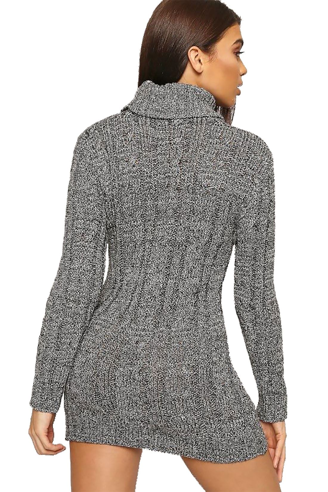 2f1b016d2b7 Details about Womens Cable Knitted Polo Roll Neck Jumper Ladies Long Sleeve  Stretch Dress
