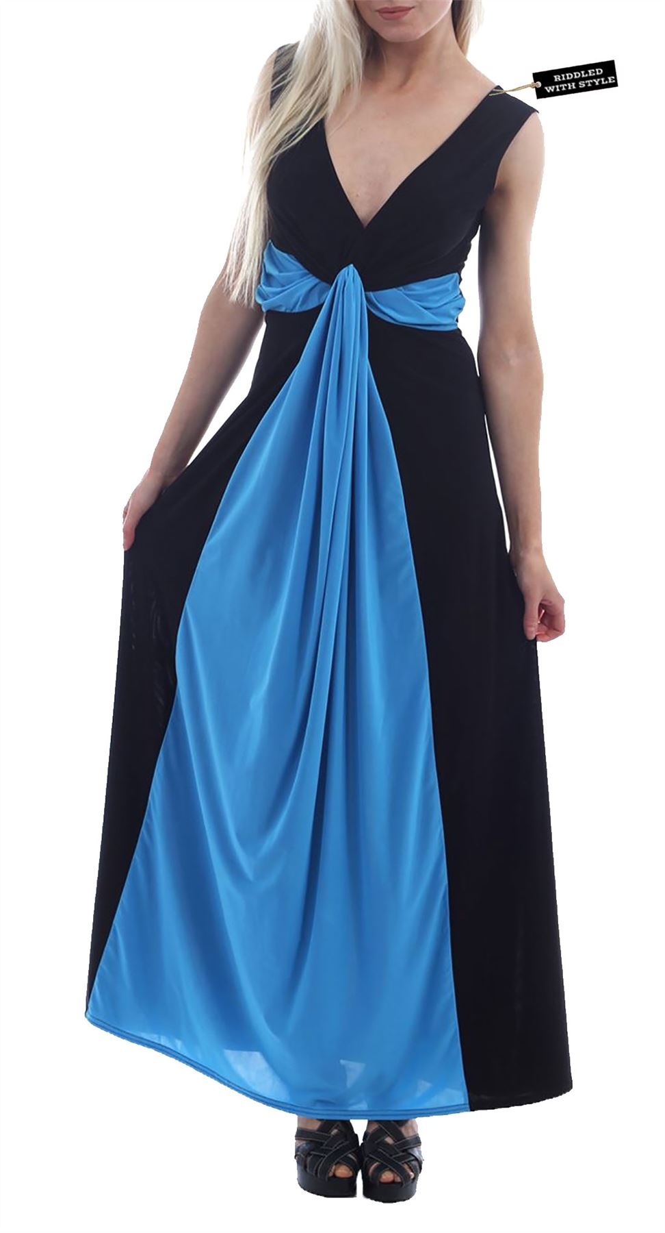 Contrast Tie Knot Panel Maxi Dress Womens Ladies Front Panel Evening ...