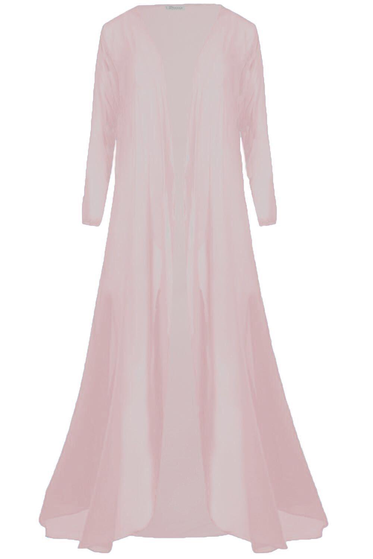 Nouveau femmes mesdames filles filles filles en mousseline de soie long cardigan femme cascade Sizeuk 8-26 197033