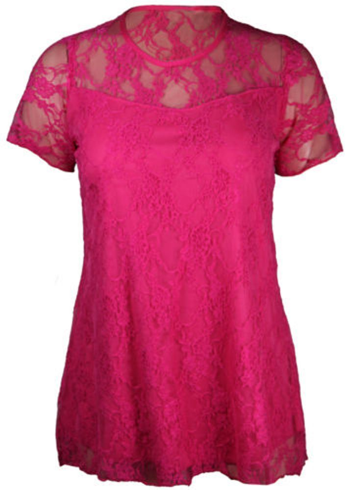New-Ladies-Womens-Plus-Size-Short-Sleeve-Floral-Lace-Top-Dress-14-16-20-22-24-26