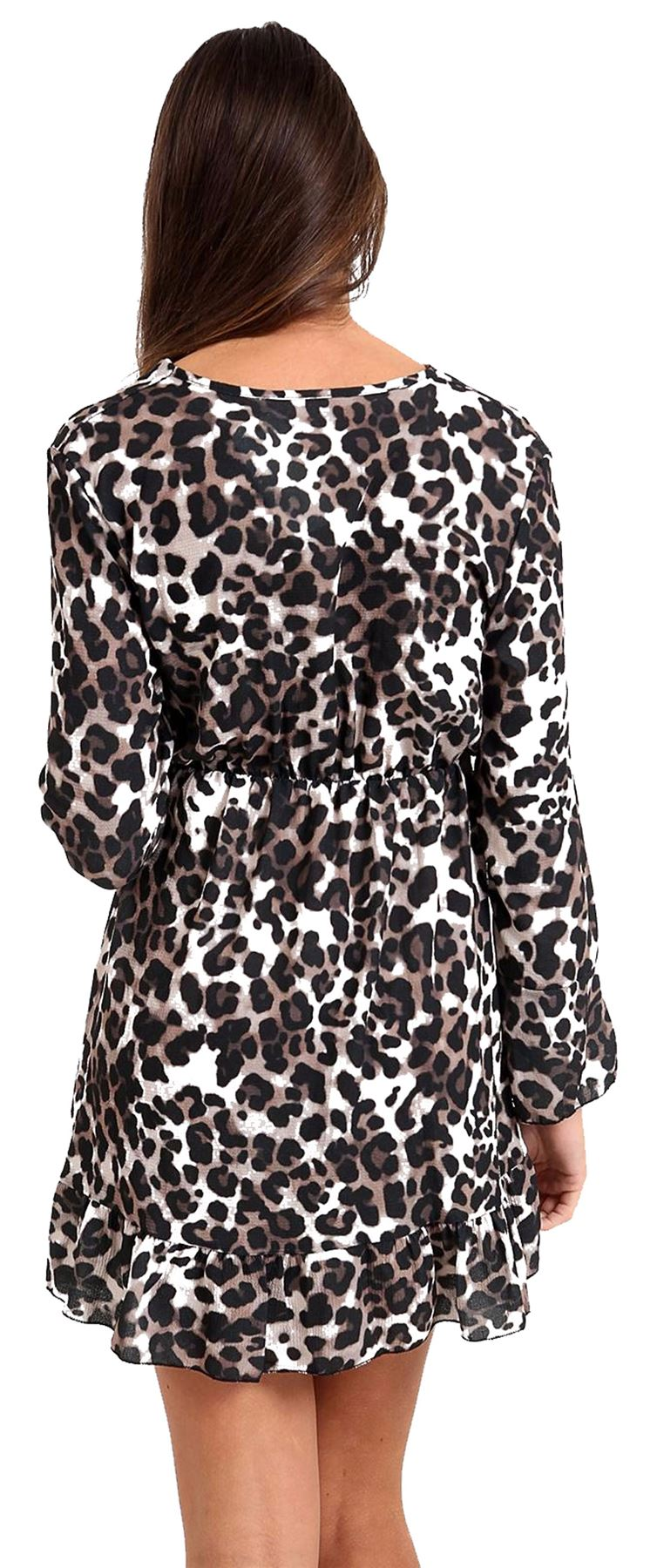 b47c8bbe32f6f Details about Womens Leopard Print Wrap Over Dress Ladies Plunged Bell  Sleeve Party Shirt LOT