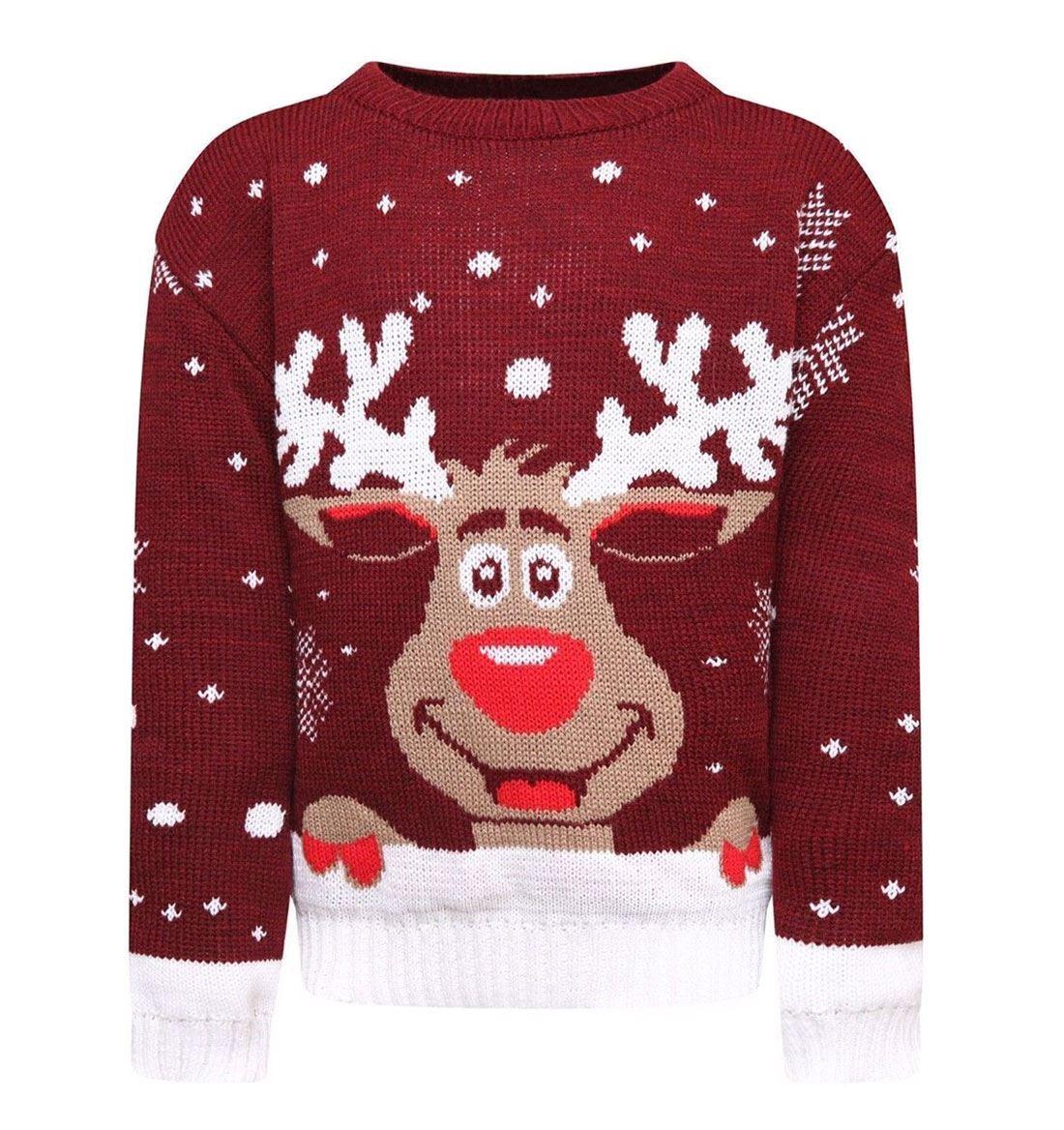 Womens-Long-Sleeve-Snowflake-Knitted-Christmas-Jumper-Kids-Unisex-Winter-Sweater thumbnail 5