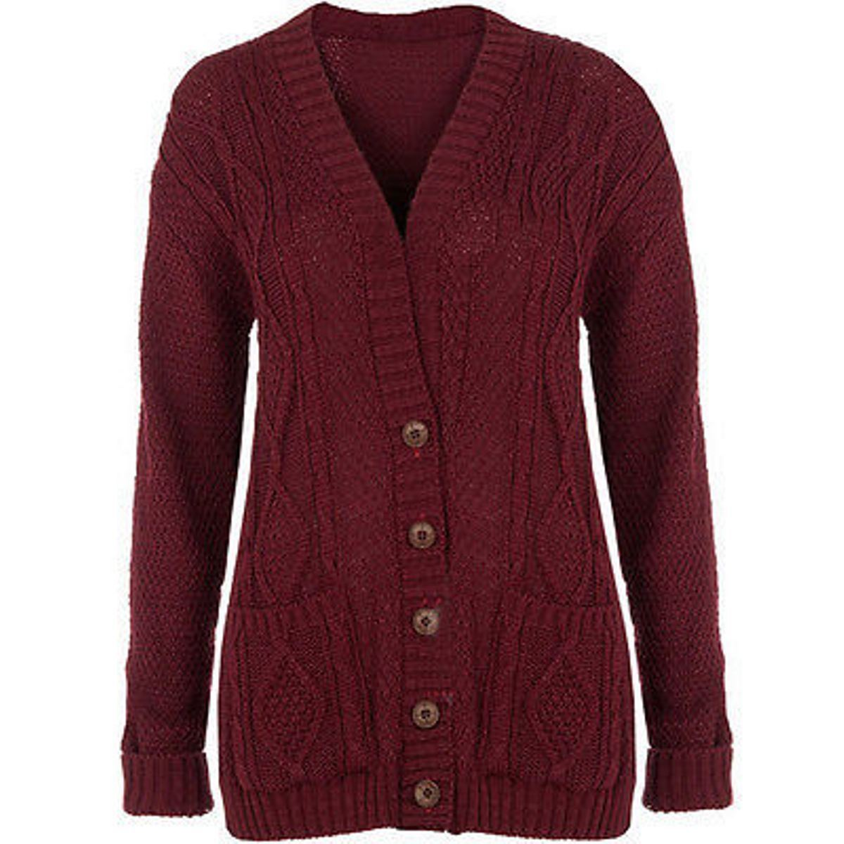 NEW WOMENS LADIES PLUS SIZE CHUNKY CABLE KNITTED BUTTON GRANDAD ...
