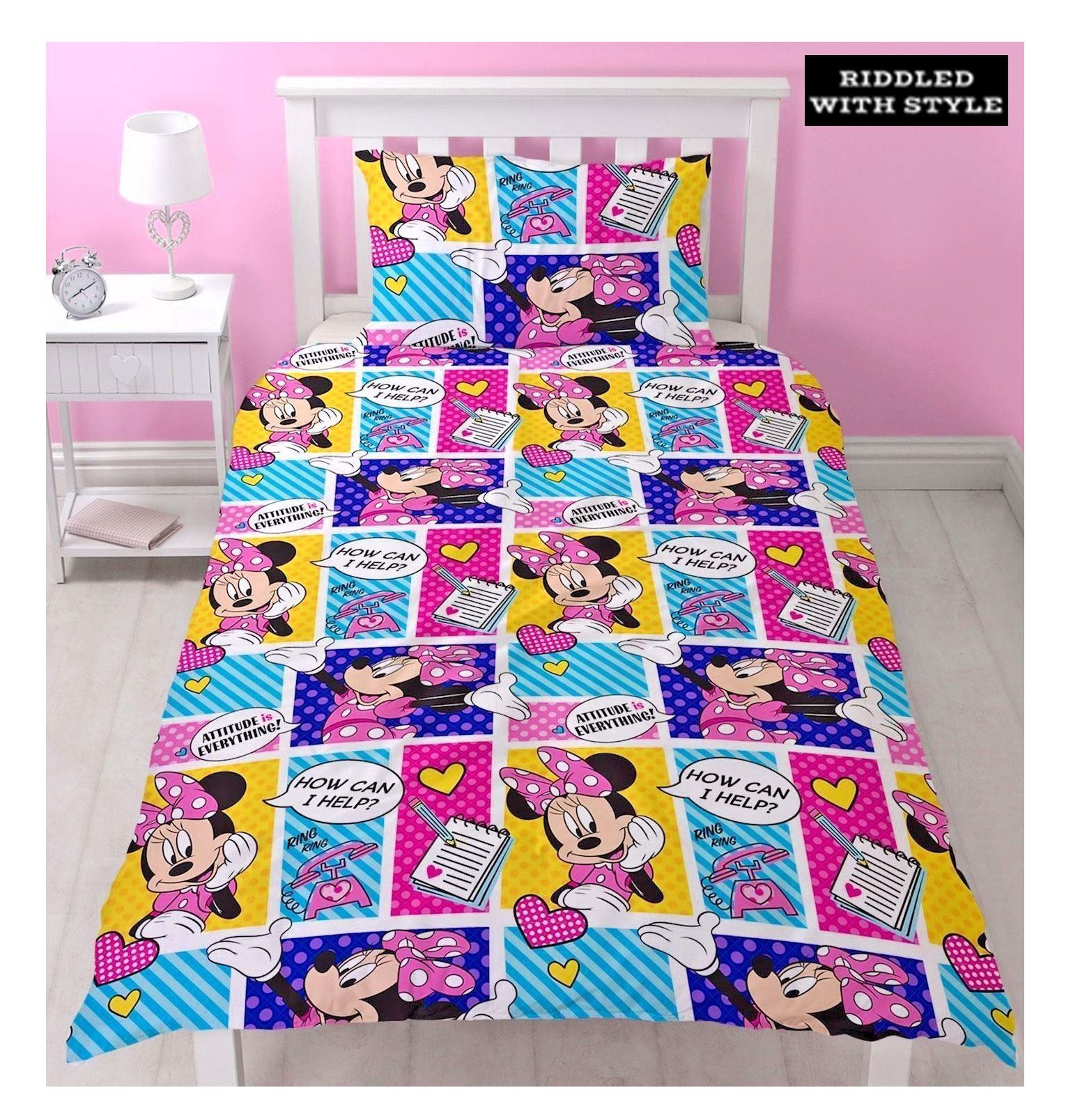 Girl Kids Disney Minnie Mouse Cartoon Character Reversible Single