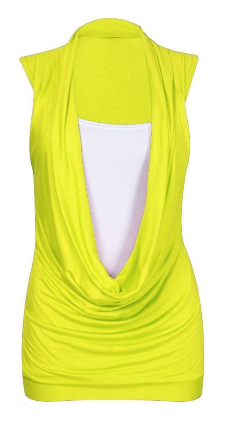 NEW-LADIES-GATHERED-COWL-NECK-TOP-WOMEN-SLEEVELESS-LONG-VEST-TOP-SIZE-8-26