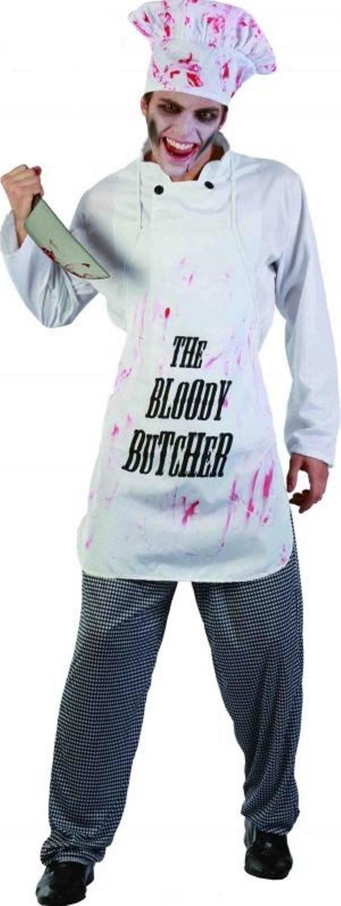 NEW-MENS-FANCY-DRESS-ADULT-BLOODY-Butcher-CHEF-  sc 1 st  eBay & NEW MENS FANCY DRESS ADULT BLOODY Butcher CHEF COOK ZOMBIE COSTUME ...