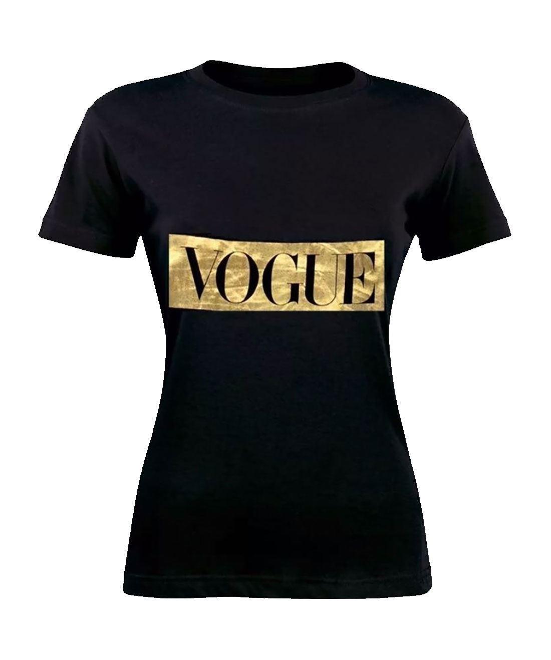 Vogue-Celebrity-Inspired-Print-T-Shirt-Womens-Short-Sleeve-Slogan-Gold-Foil-Top