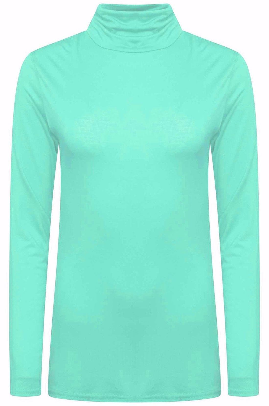 Ladies-Plain-Full-Sleeve-Polo-Roll-Neck-Jumper-Top-Womens-Turtle-Neck-Jumper thumbnail 26