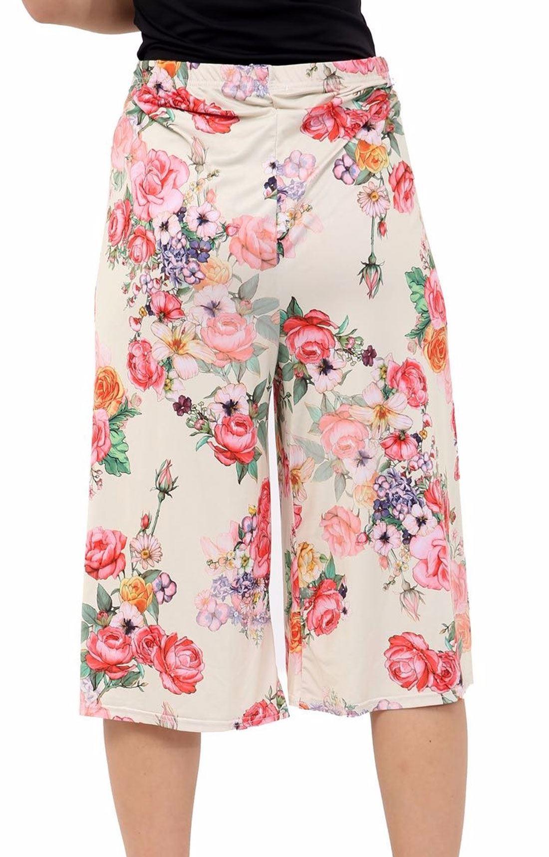 Femmes-Pantalons-Longueur-3-4-Imprime-Floral-Court-Femme-Palazzo-Jambe-Large-Culottes miniature 8