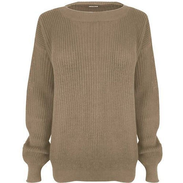 Womens-Ladies-Oversized-Baggy-Long-Thick-Knitted-Plain-Chunky-Top-Sweater-Jumper