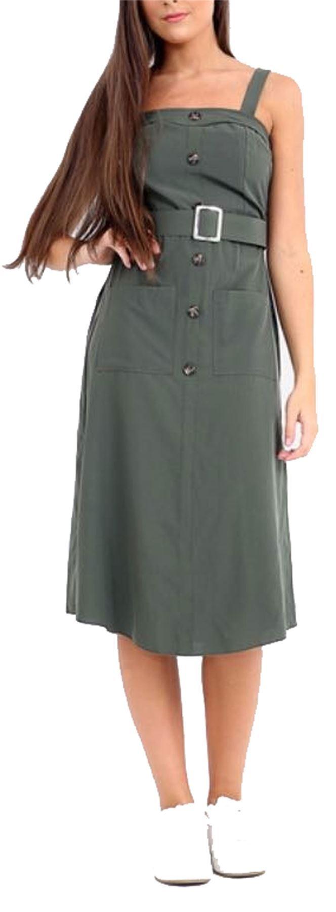 Avec Boucle Ceinture T Avant Bouton Plain Dress Pour Femme Vacances Midi Robe 824d74