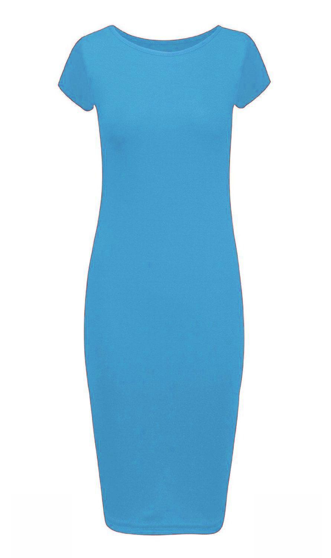 Womens-Midi-Dress-Ladies-Plain-Short-Cap-Sleeve-Bodycon-Maxi-Midi-Dress