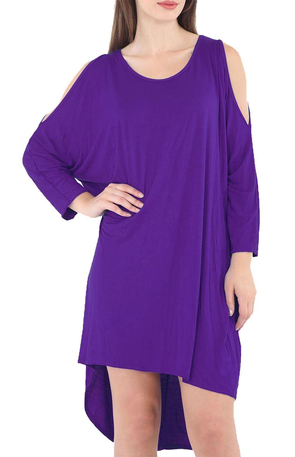 c278e9a052ed Women Cold Shoulder Oversized Baggy Shirt Ladies Long Sleeve Parties ...