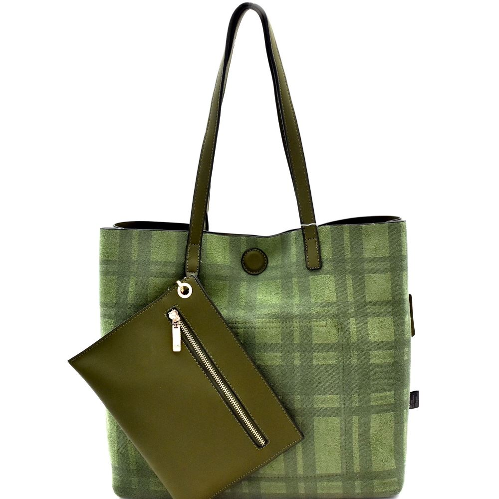 8124e6fb3ebd1 Details about Plaid Checker Print Reversible 2 in 1 Tote Bag with Pouch