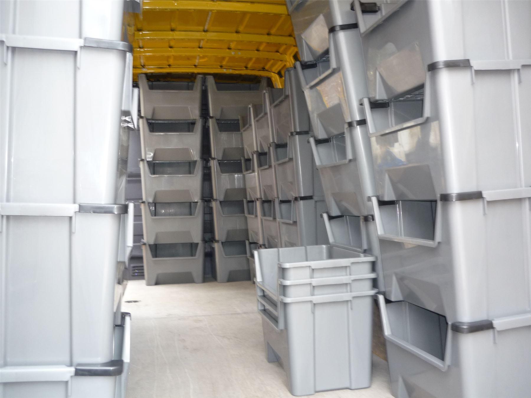 large plastic van shelving storage bins boxes stackable spac