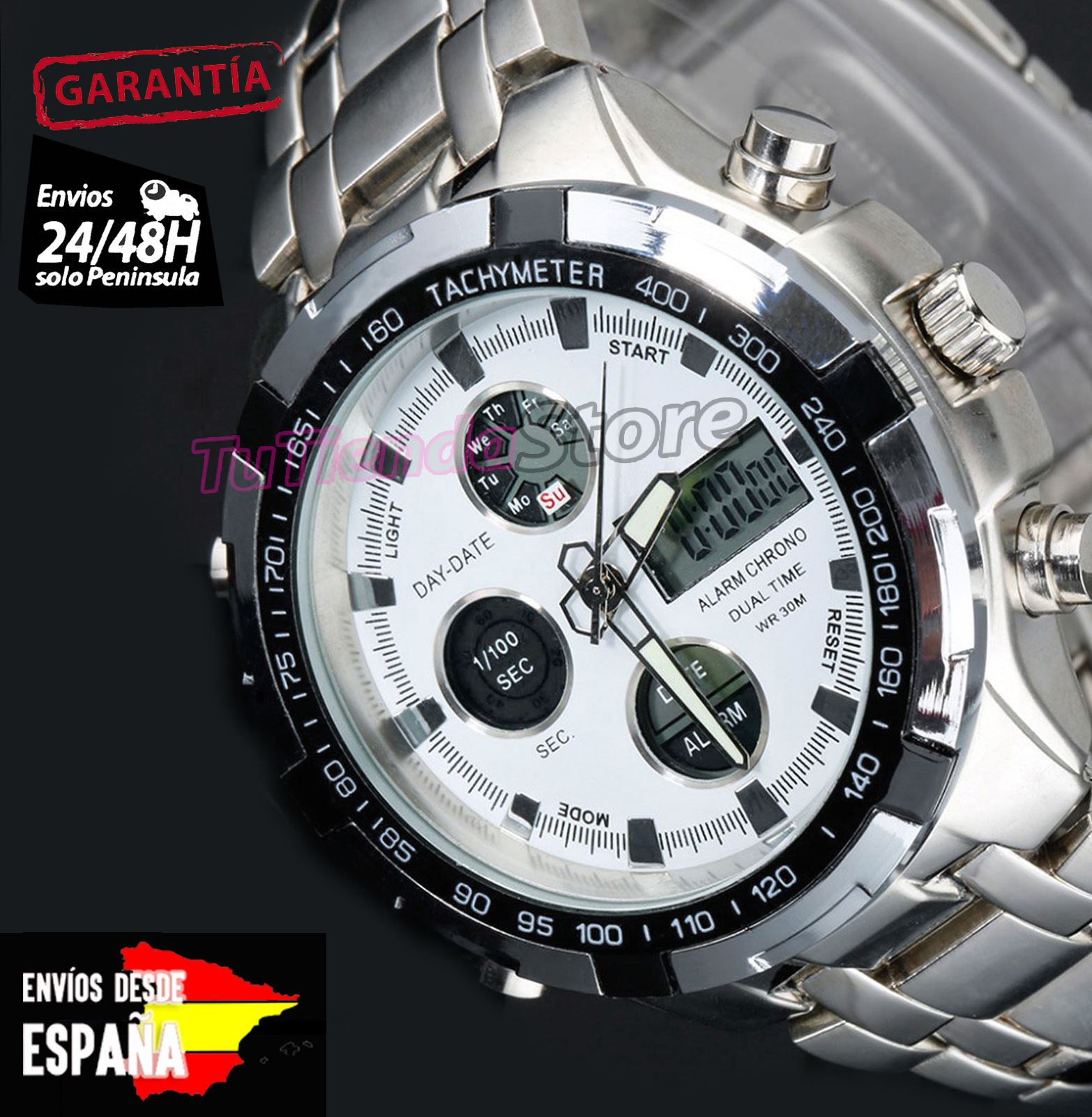 f9d3b2197e08 Reloj De Pulsera Hombre Luz LED Digital Fecha Para Hombres Acero ...