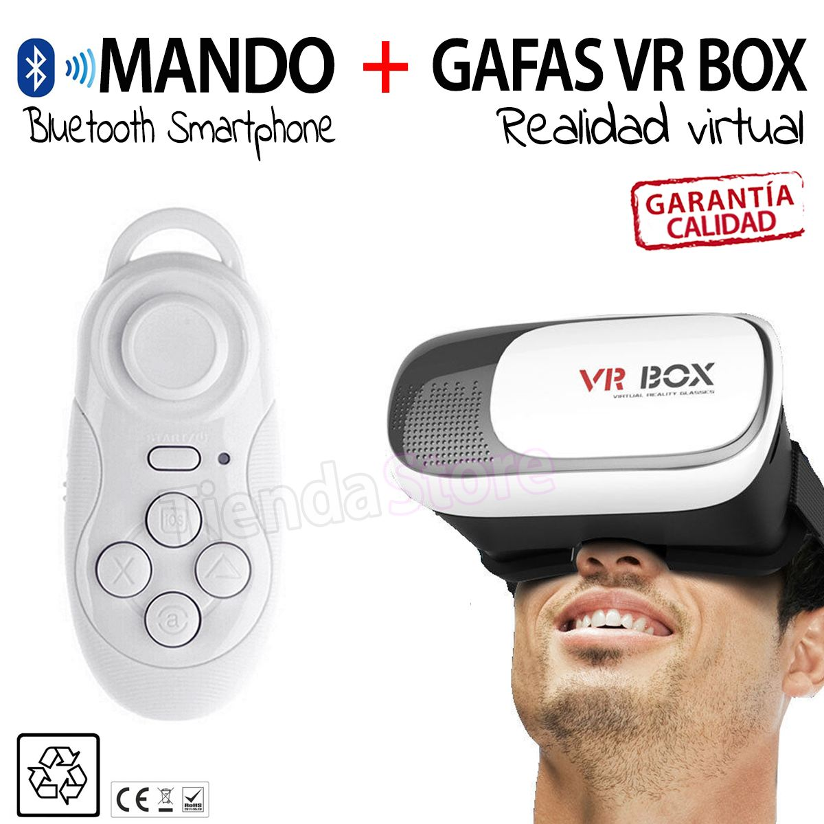 Pack Gafas Realidad Virtual Vrbox Mando Distancia Bluetooth Blanco