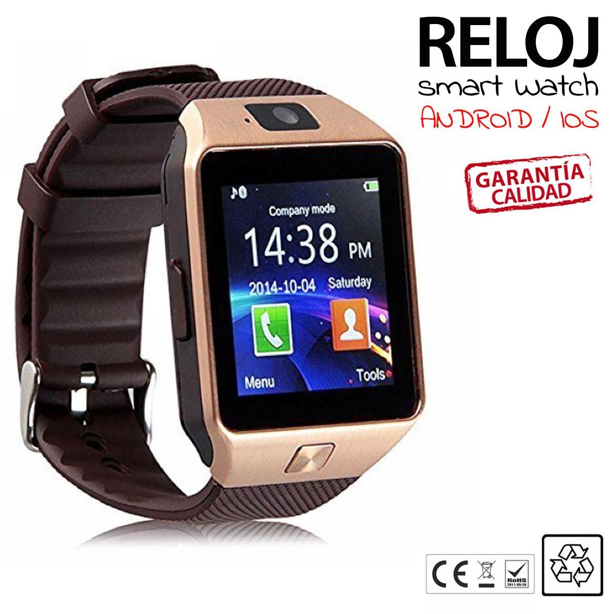 DZ09 Telefono Reloj Inteligente Bluetooth SmartWatch para Android IOS SIM DORADO