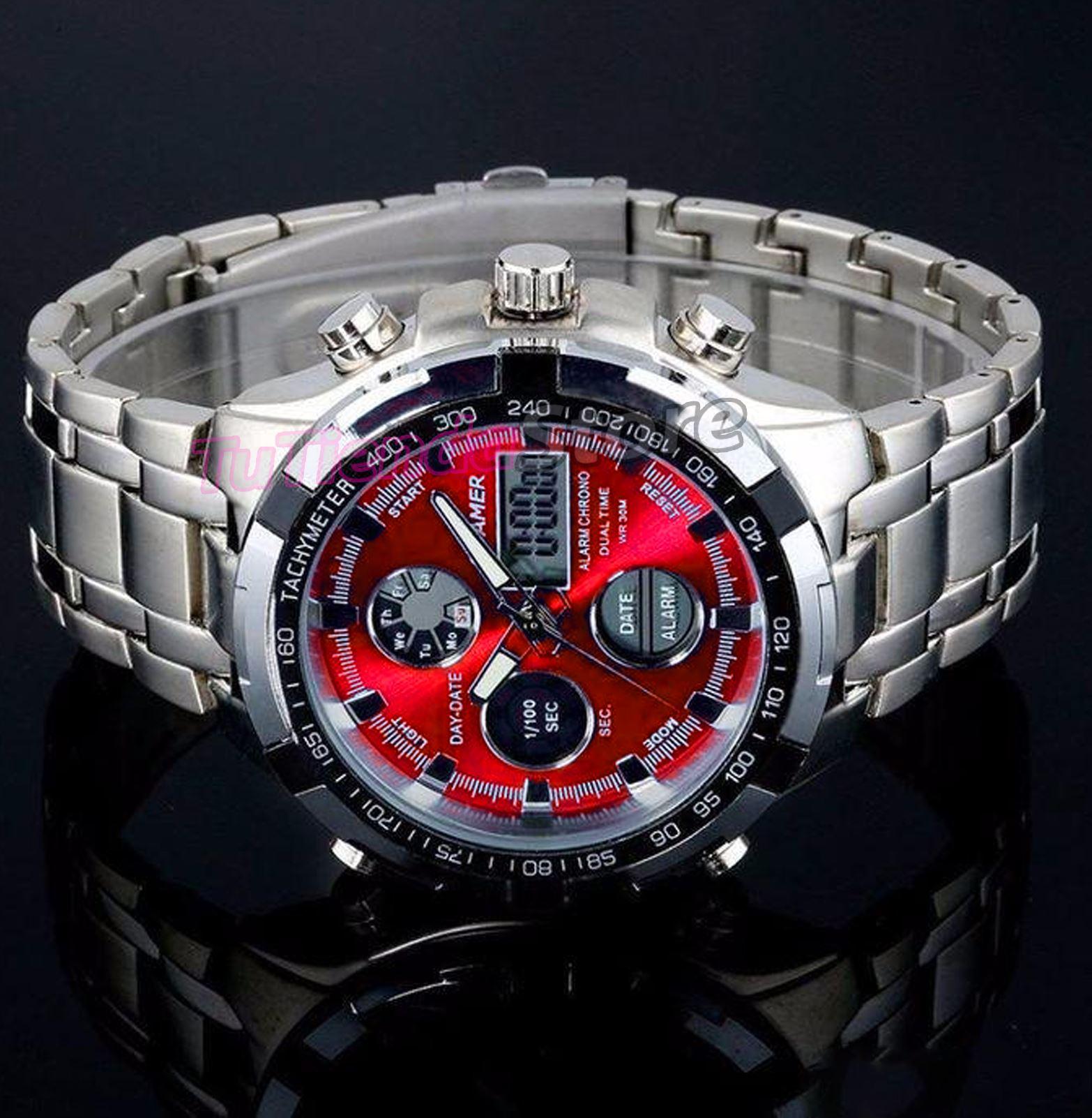 Reloj De Pulsera Hombre caballero Digital y Analogico Acero Inox ... 8357e7b48970