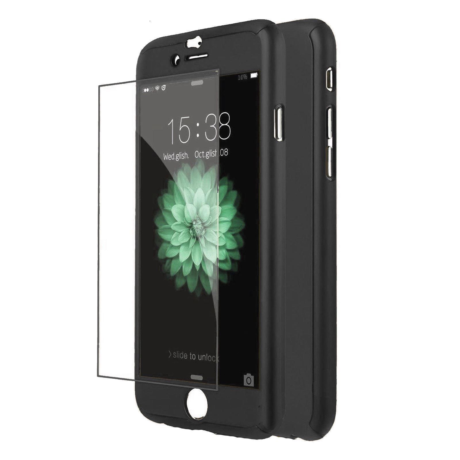 5x-Funda-360-hibrida-para-Iphone-6S-Negro-Cristal-Templado-Antigolpes-Carcasa