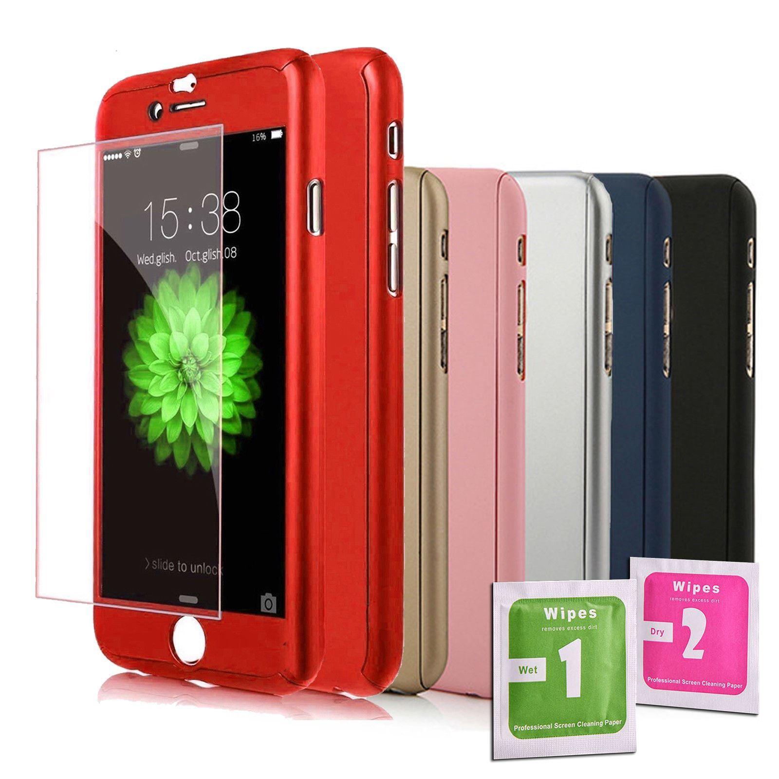 Dettagli su Cover fronte retro 360° per IPHONE 6 PLUS / 6S PLUS Colori Vetro Temperato