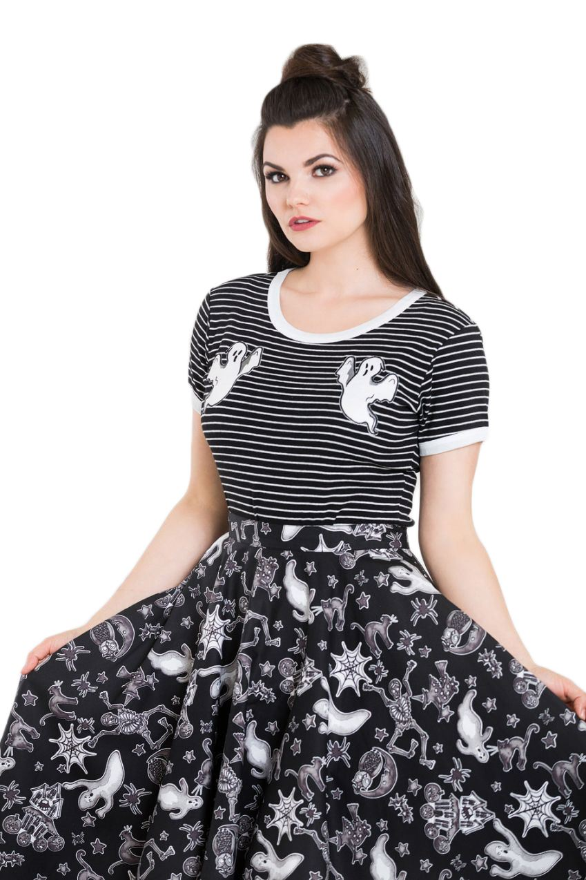 Hell Bunny T Shirt Top Black White Stripes CASPER Spooky Ghosts All Sizes