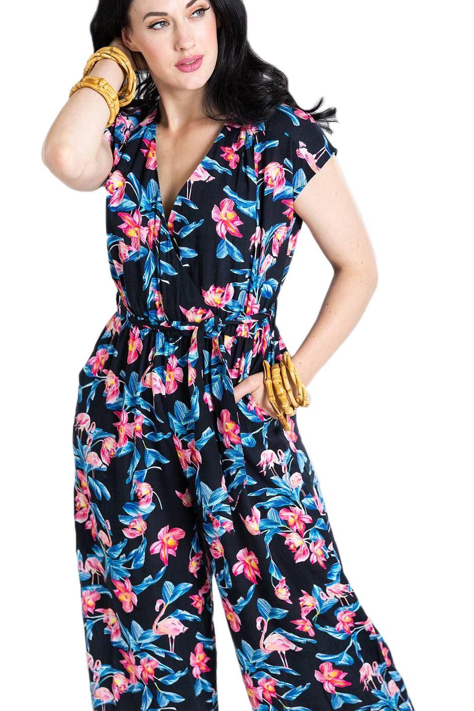 Florida Hell Floral nera Flamingo Tuta Bunny baggy qt5xnawfO4